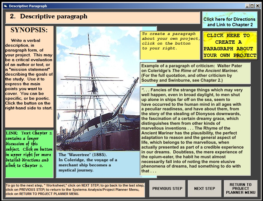 Descriptive Paragraph screen
