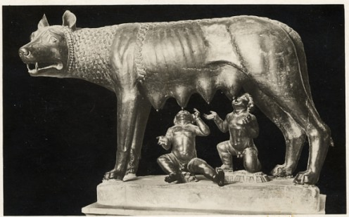 Romulus and Remus with wolf